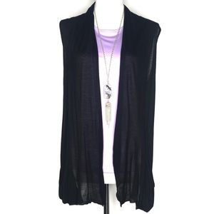 Ambiance Apparel Black Open Cardigan Top A120318